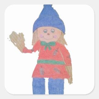 Cute Fall Scarecrow Square Sticker