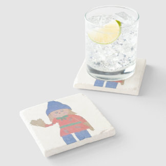 Cute Fall Scarecrow Stone Coaster