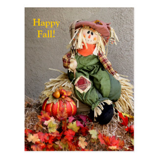 Cute Fall Scarecrow with Pumpkin Post Card