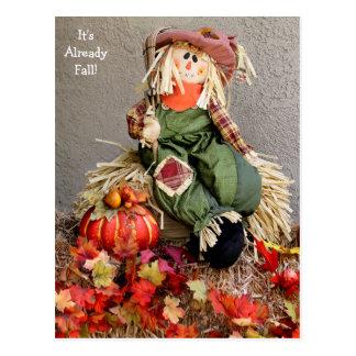 Cute Fall Scarecrow with Pumpkin Postcard