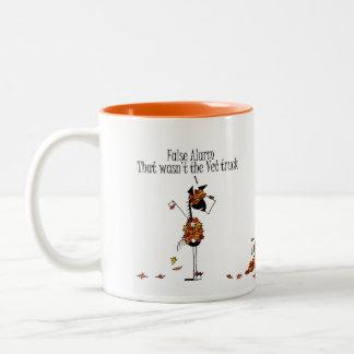 Cute Fall Season Horses Hiding From Vet Cartoon Two-Tone Coffee Mug