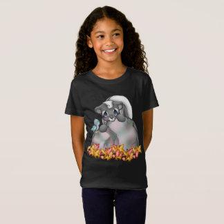 Cute Fall Seasonal skunk girls t-shirt
