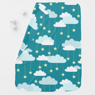 Cute Falling Stars & Clouds Pattern Baby Blanket