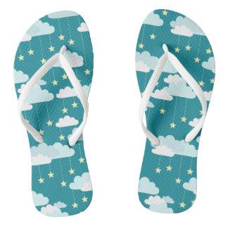 Cute Falling Stars & Clouds Pattern Flip Flops