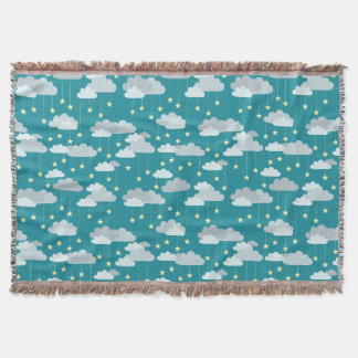 Cute Falling Stars & Clouds Pattern Throw Blanket