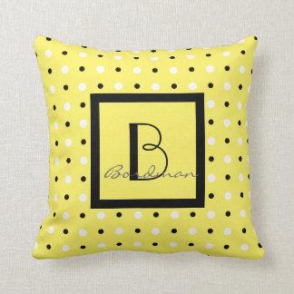 Cute Family Keepsake, Yellow w Polka Dots Throw Pillow
