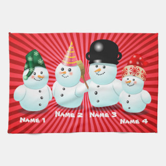 Cute Family Of Snowmen Customizable Cartoon Hand Towel