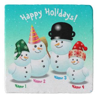 Cute Family Of Snowmen Customizable Cartoon Trivet