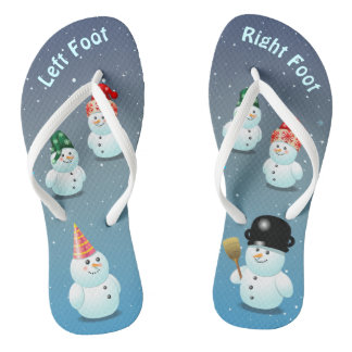 Cute Family Of Snowmen Flip Flops