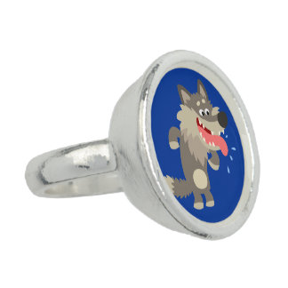Cute Famished Cartoon Wolf Ring