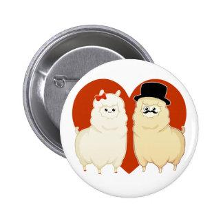 Cute Fancy Alpaca Couple Button