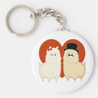 Cute Fancy Alpaca Couple Keychain