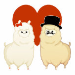 Cute Fancy Alpaca Couple Photo Cut Out