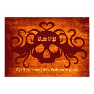 "Cute fanged Halloween vampire skull in orange rsvp 3.5"" X 5"" Invitation Card"