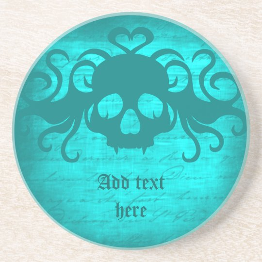 Cute fanged vampire skull aqua teal version coaster