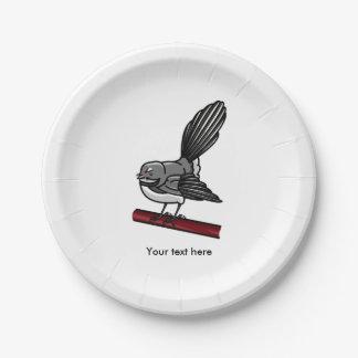 Cute Fantail New Zealand And  Australasian Bird 7 Inch Paper Plate