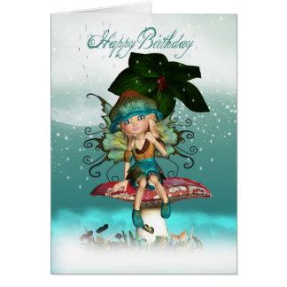 Cute Fantasy Fairy Elf Birthday Greeting Card