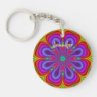 Cute Fantasy Flower & Name Keychain