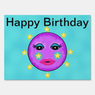 Cute Fantasy Purple Moon Face Stars Birthday Sign