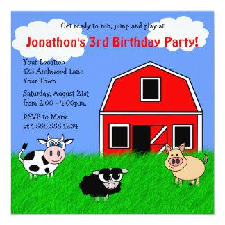 Cute Farm Animals Kids Birthday Invitations