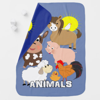 Cute Farm Animals Kids Whimsy fun Design Baby Blanket