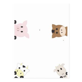 Cute Farm Animals Postcard
