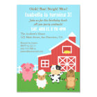 Cute Farm Barnyard Animal Birthday Party Card
