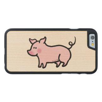Cute farm house piglet carved maple iPhone 6 case