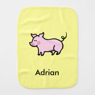 cute farm piglet - just add name burp cloth