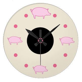 Cute Farm Pigs Wall Clock
