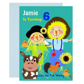 Cute Farm Scarecrows Themed Kids Birthday Party Card