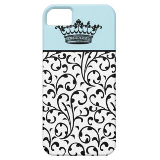 Cute Fashion Crown and Swirls iPhone Cover Blue