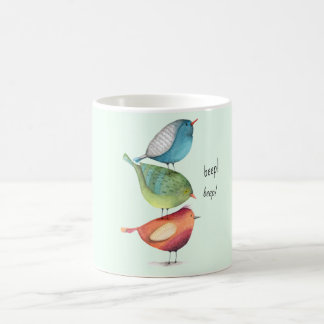 Cute Fat Birds Standing on Each Other Coffee Mug