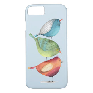 Cute Fat Birds Standing on Each Other iPhone 8/7 Case