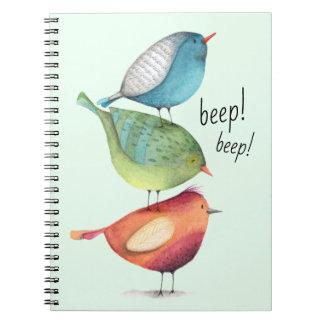 Cute Fat Birds Standing on Each Other Notebook