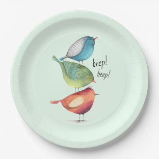 Cute Fat Birds Standing on Each Other Paper Plate