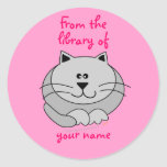 Cute Fat Cat Pink Personalized Kids Bookplates Round Sticker
