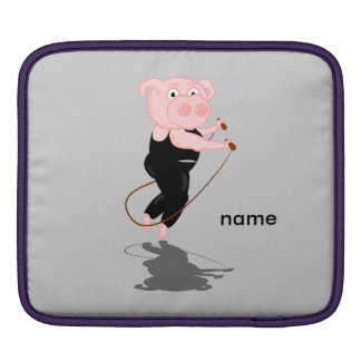 Cute Fat Pig Skipping iPad Sleeve