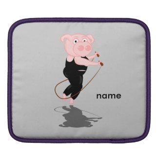 Cute Fat Pig Skipping iPad Sleeves