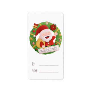 Cute Father Santa Wreath Christmas Gift Labels