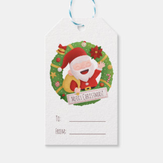 Cute Father Santa Wreath Christmas Gift Tag