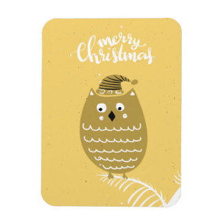 Cute Faux Gold Christmas Owl Magnet