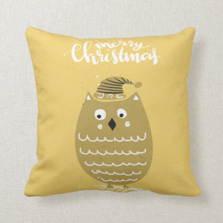Cute Faux Gold Christmas Owl Throw Pillow