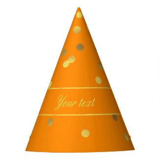 Cute Faux Gold Foil Confetti Orange Party Hat