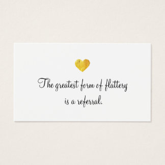 Cute Faux Gold Foil Heart Customer Referral Card