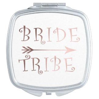 cute faux rose gold foil bride tribe design compact mirrors