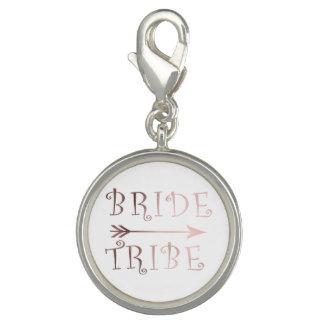 cute faux rose gold foil bride tribe design photo charms