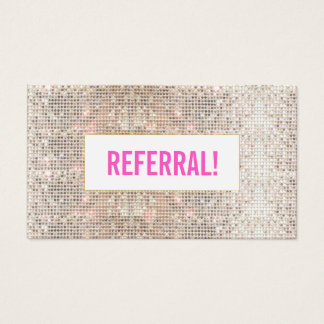 Cute Faux Silver Sequin Pink Beauty Salon Referral Business Card