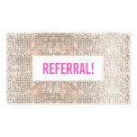 Cute Faux Silver Sequins Pink Cosmetology Referral