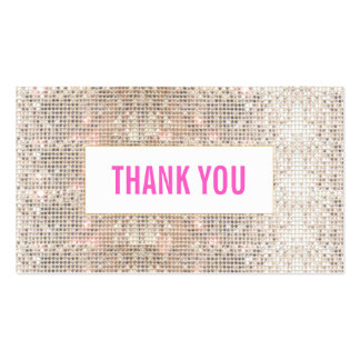 Cute Faux Silver Sequins Pink Thank You Insert Pack Of Standard Business Cards